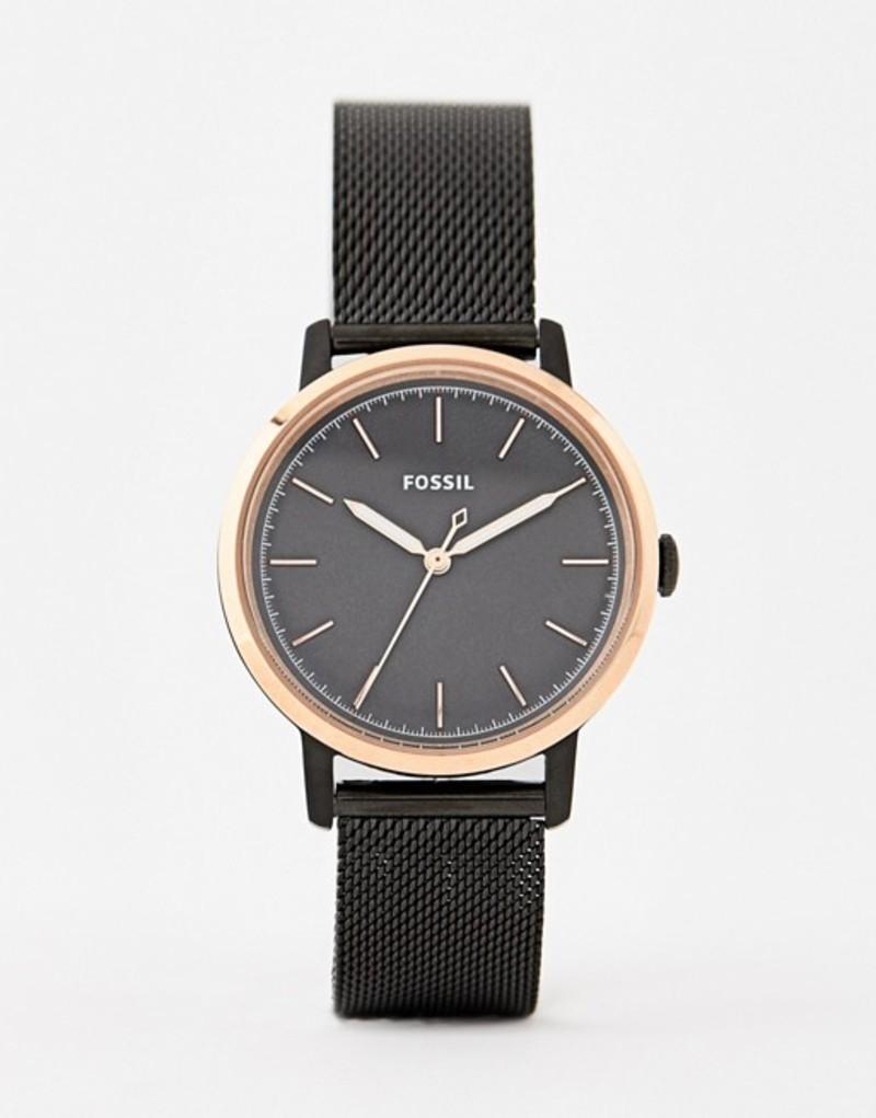 フォッシル メンズ 腕時計 アクセサリー Fossil ES4467 Neely mesh watch in black 34mm Black