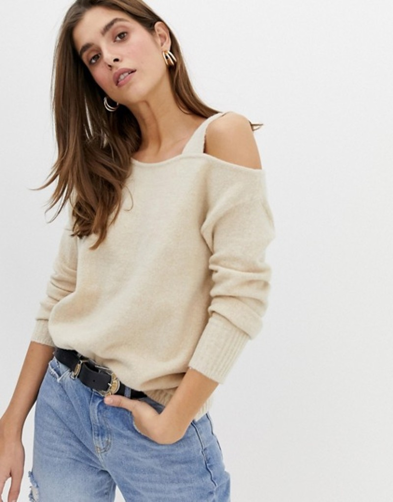 リバーアイランド レディース ニット・セーター アウター River Island sweater with asymmetric shoulder in oatmeal Oatmeal
