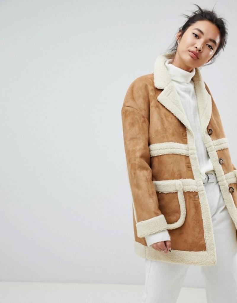 ネオンローズ レディース ジャケット・ブルゾン アウター Neon Rose collared coat in faux shearling Beige