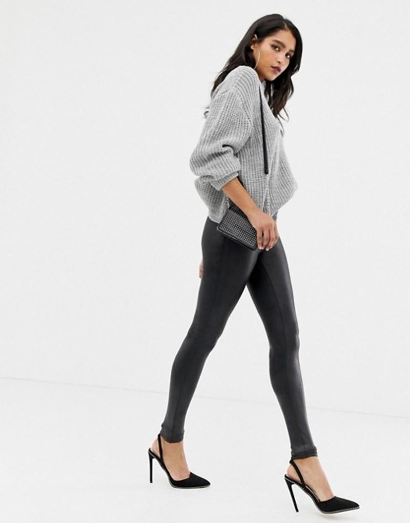 スパンク レディース レギンス ボトムス Spanx faux leather high waist sculpting leggings Black