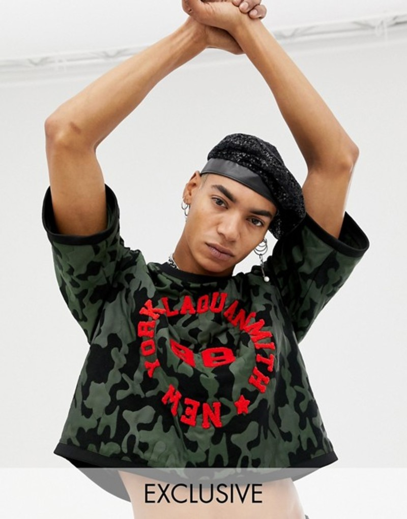 エイソス メンズ Tシャツ トップス ASOS DESIGN x LaQuan Smith boxy crop t-shirt in camo jacquard Green