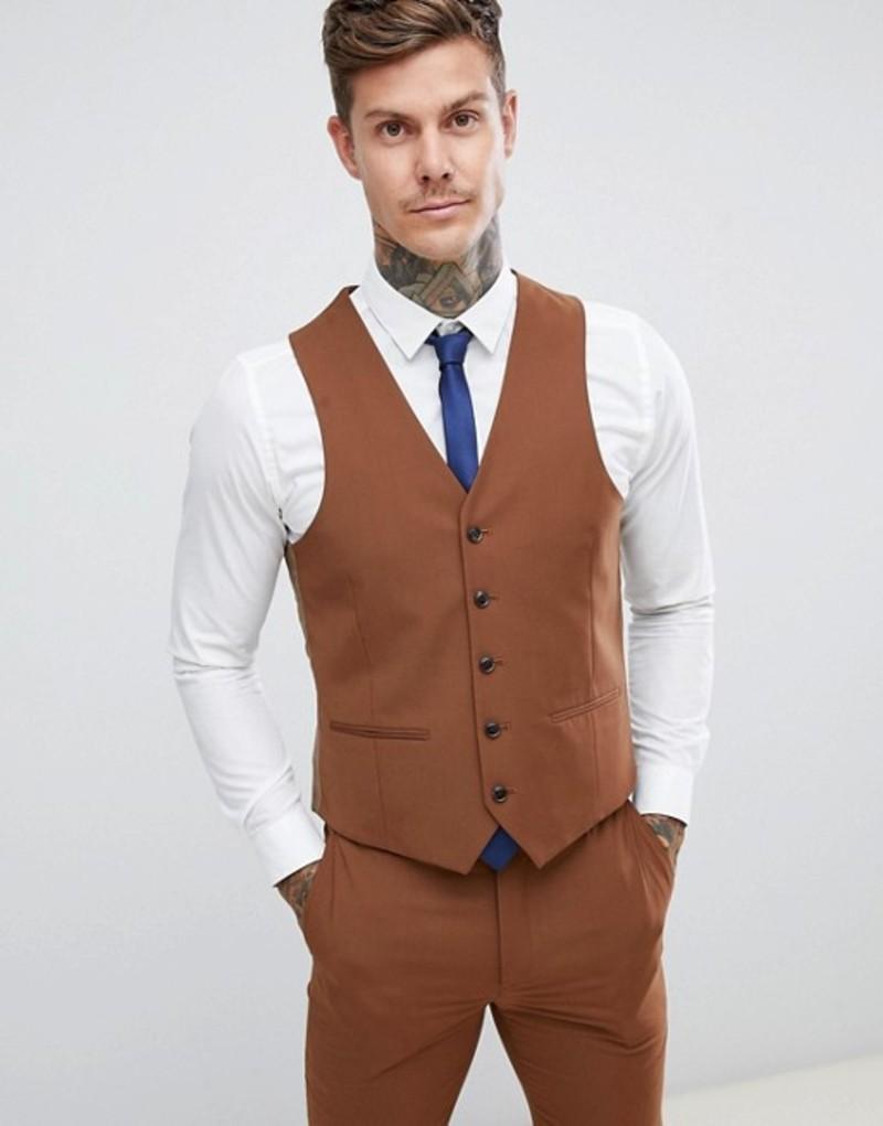 ハリー ブラウン メンズ タンクトップ トップス Harry Brown wedding slim fit super soft vest Brown