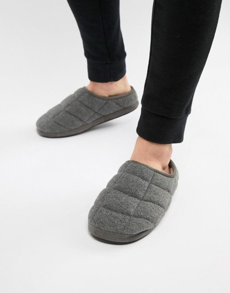 ダンロップ メンズ サンダル シューズ Dunlop Quilted Fleece Slip On Slipper Grey
