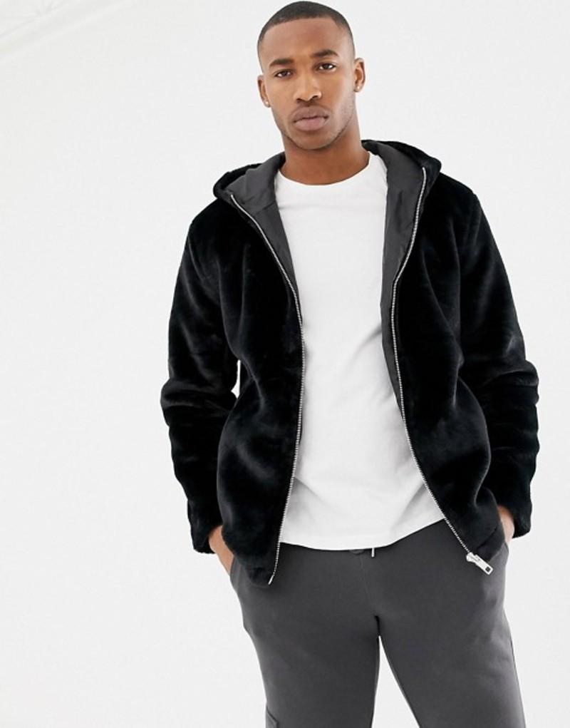 リバーアイランド メンズ コート アウター River Island faux fur coat with hood in black Black