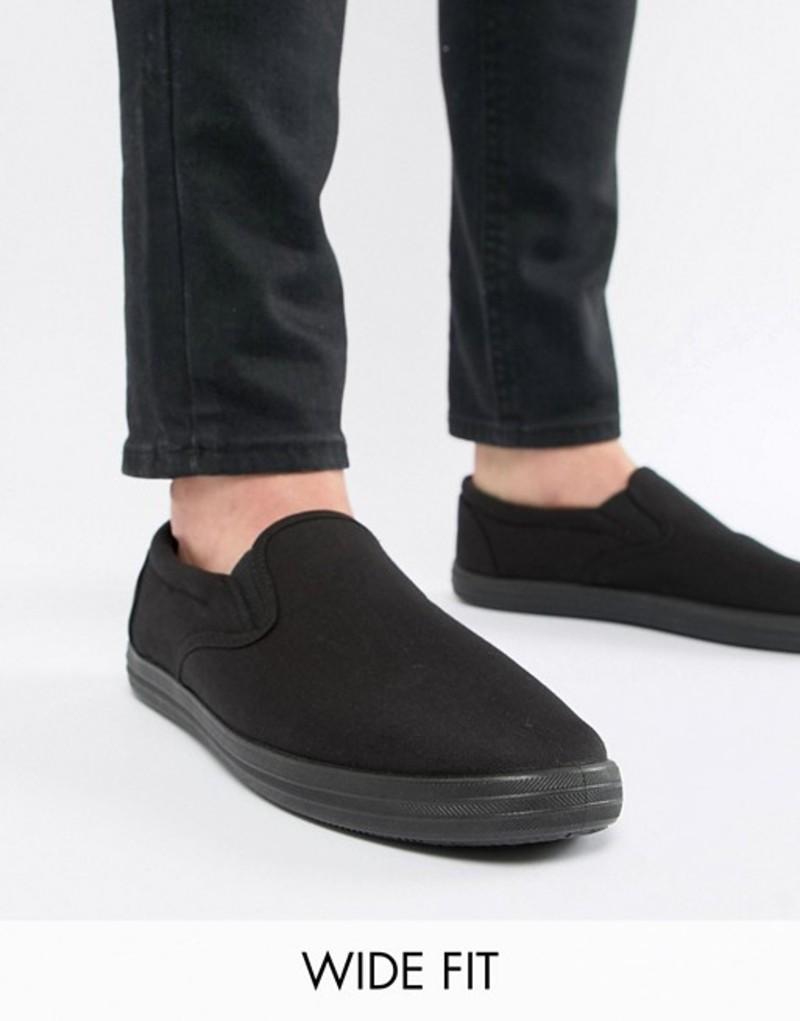 エイソス メンズ スニーカー シューズ ASOS DESIGN Wide Fit slip on plimsolls in black canvas Black