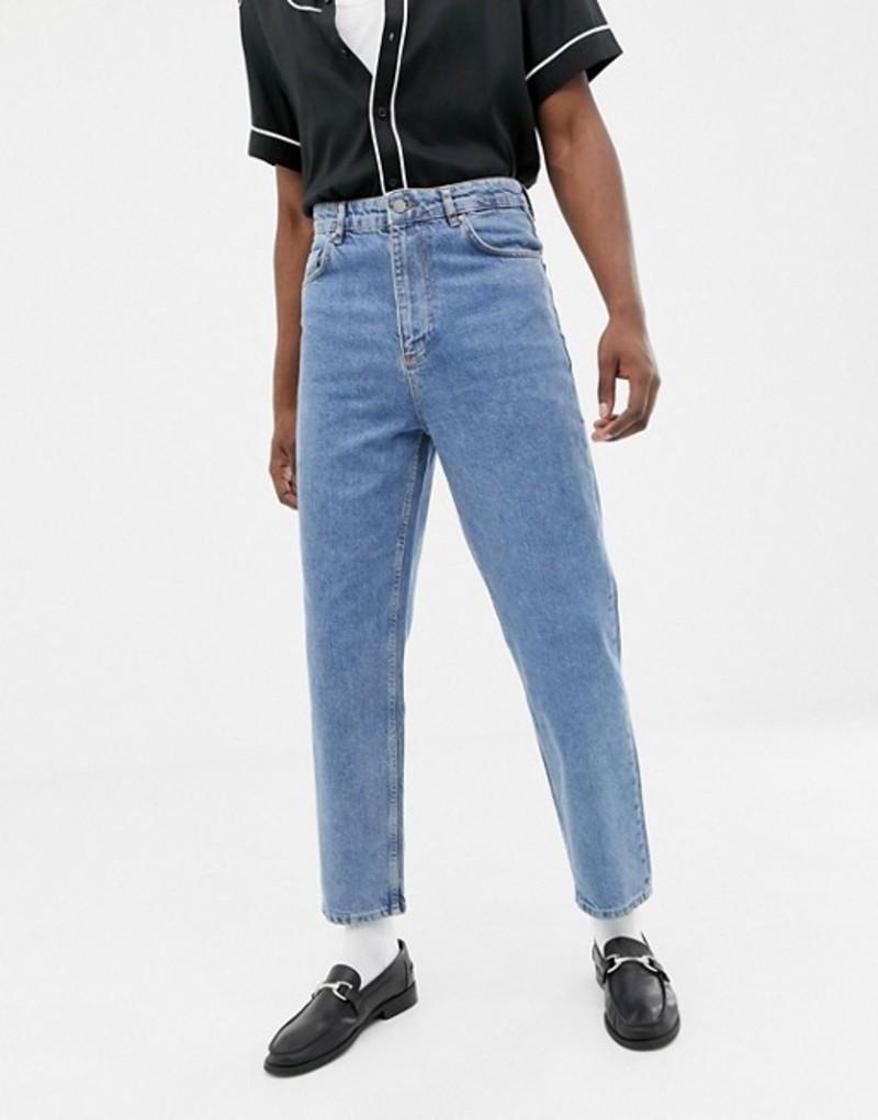 エイソス メンズ デニムパンツ ボトムス ASOS DESIGN high waisted jeans in vintage mid wash blue Mid wash vintage