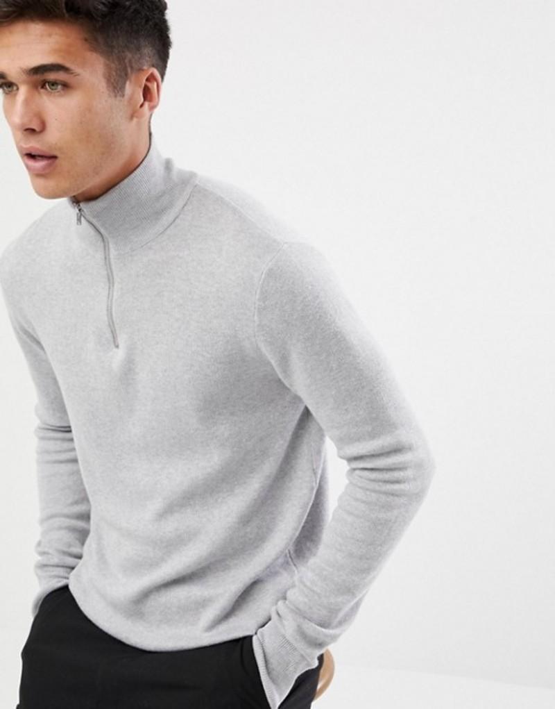 エイソス メンズ ニット・セーター アウター ASOS DESIGN midweight half zip sweater in gray Grey