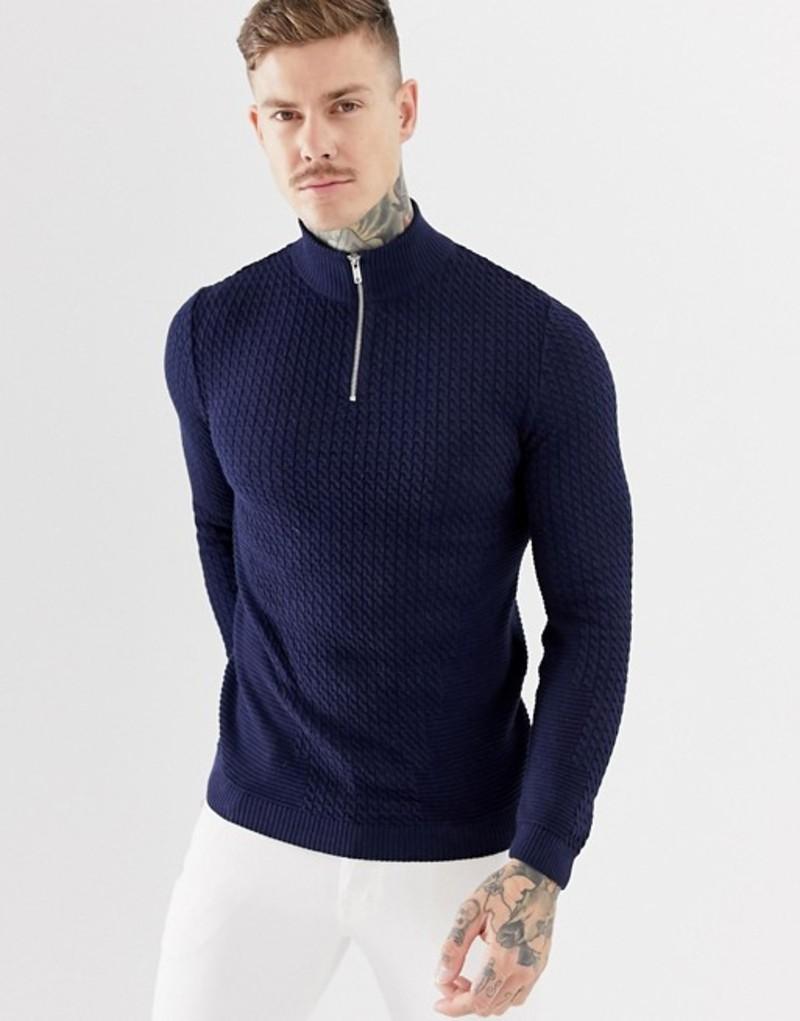 エイソス メンズ ニット・セーター アウター ASOS DESIGN knitted cable half zip sweater in navy Navy
