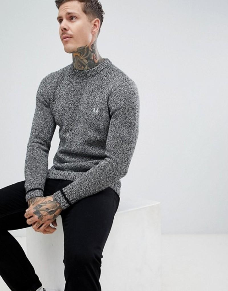 フレッドペリー メンズ ニット・セーター アウター Fred Perry fleck yarn knitted crew neck sweater in gray Grey