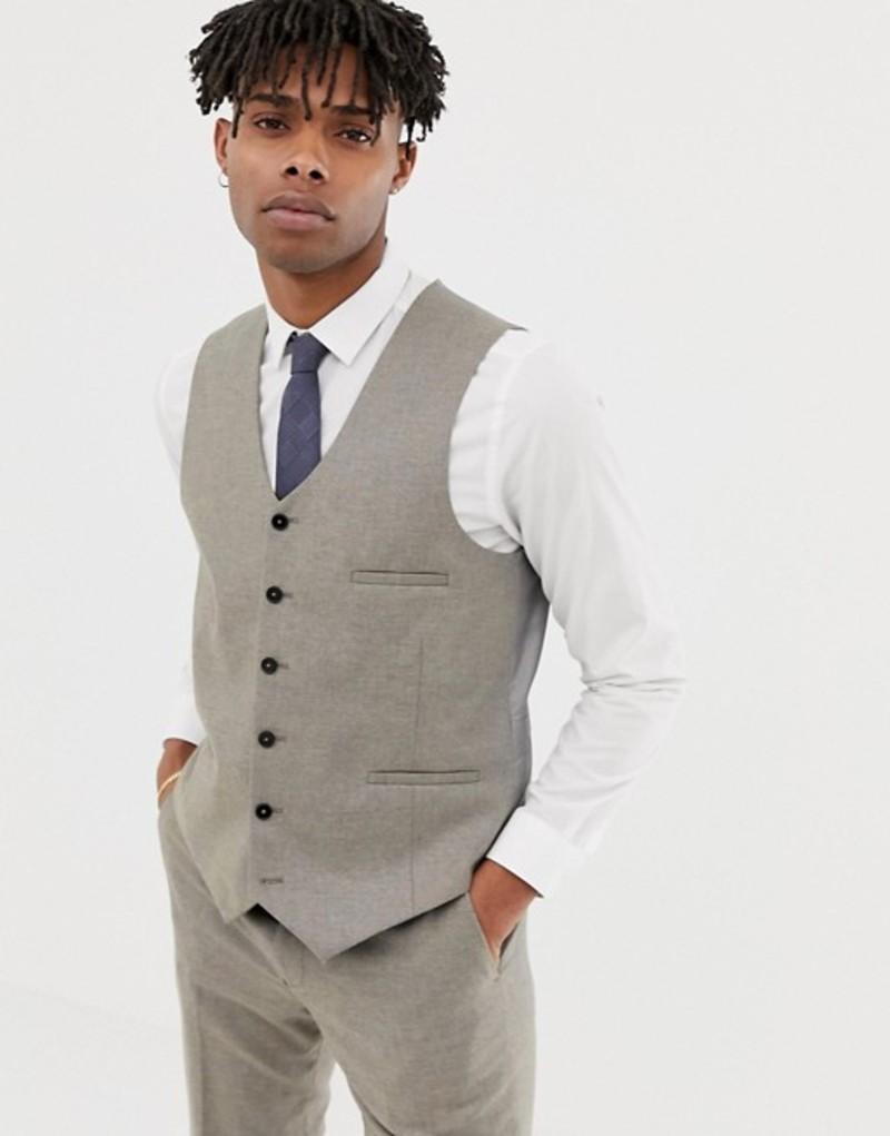 ハートアンドダガー メンズ タンクトップ トップス Heart & Dagger slim vest in wool Stone