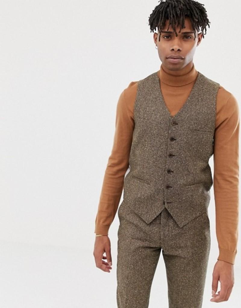 ハートアンドダガー メンズ タンクトップ トップス Heart & Dagger slim vest in camel wool Brown