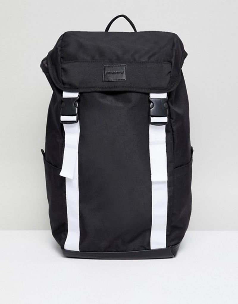 エイソス メンズ バックパック・リュックサック バッグ ASOS DESIGN backpack in black with white double straps Black