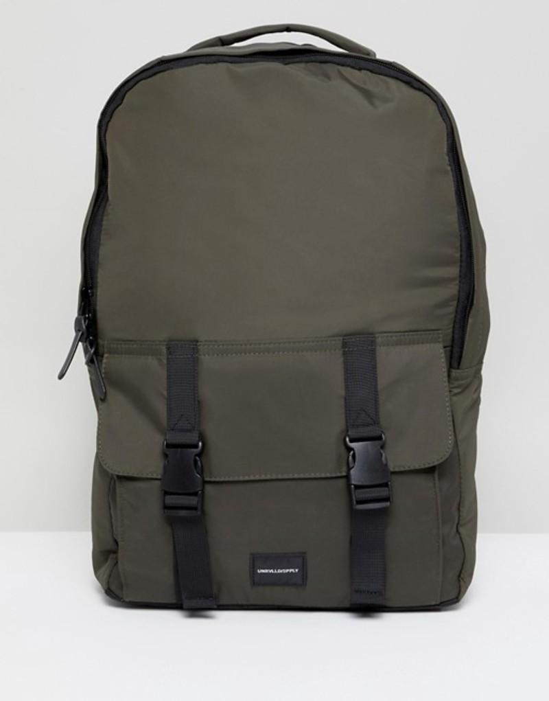 エイソス メンズ バックパック・リュックサック バッグ ASOS DESIGN backpack in khaki with double strap pocket Khaki