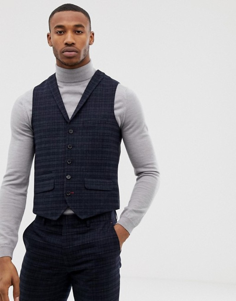 ハリー ブラウン メンズ タンクトップ トップス Harry Brown navy and gold slim fit check suit vest Blue