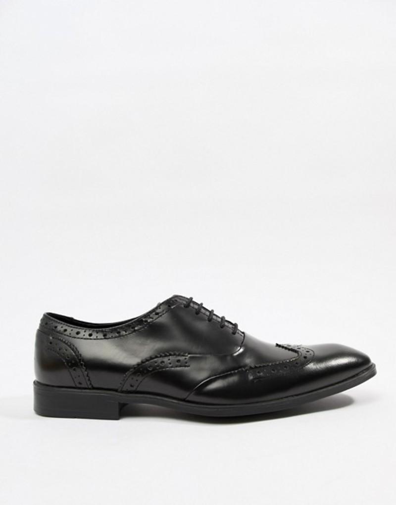 エイソス メンズ スリッポン・ローファー シューズ ASOS DESIGN brogue shoes in polished black leather Black
