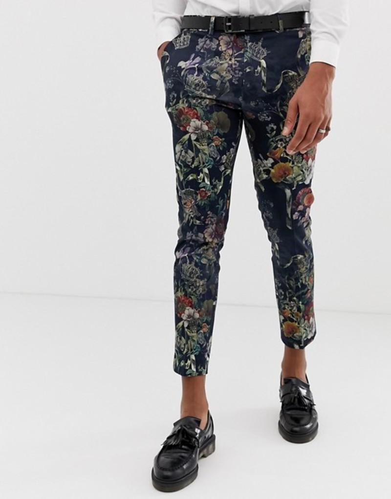 リバーアイランド メンズ カジュアルパンツ ボトムス River Island smart pants with cherub print in black Black