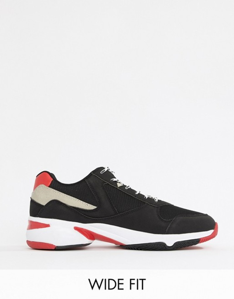 エイソス メンズ スニーカー シューズ ASOS DESIGN Wide Fit sneakers in black and red with chunky sole Black
