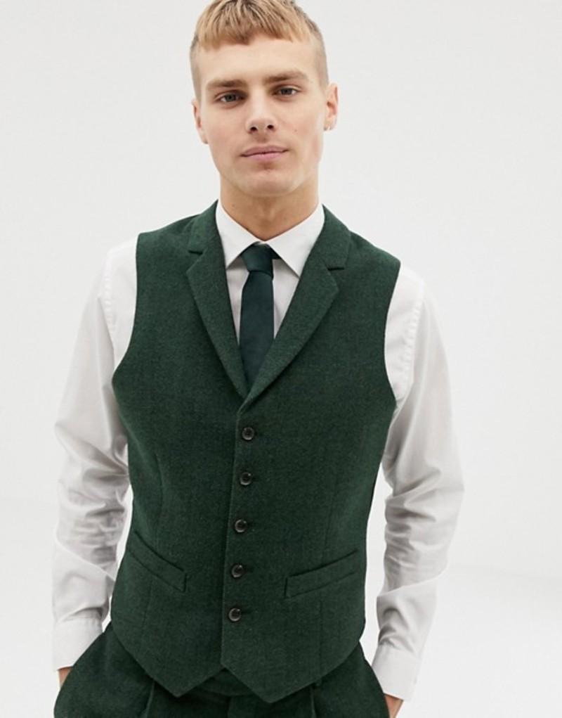 エイソス メンズ タンクトップ トップス ASOS DESIGN wedding slim suit vest in green wool mix herringbone Green