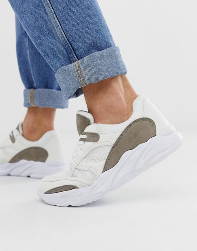 ニュールック メンズ スニーカー シューズ New Look chunky sole dad sneaker in white White