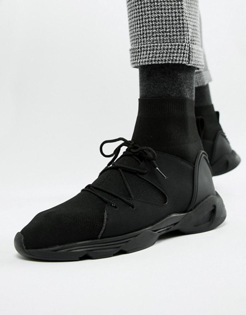 エイソス メンズ スニーカー シューズ ASOS DESIGN sock sneakers in black Black