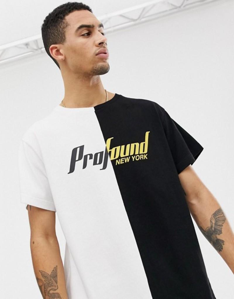 プロファウンドエステティック メンズ Tシャツ トップス Profound Aesthetic Cut & Sew T-Shirt with Chest Logo in Black & White Black