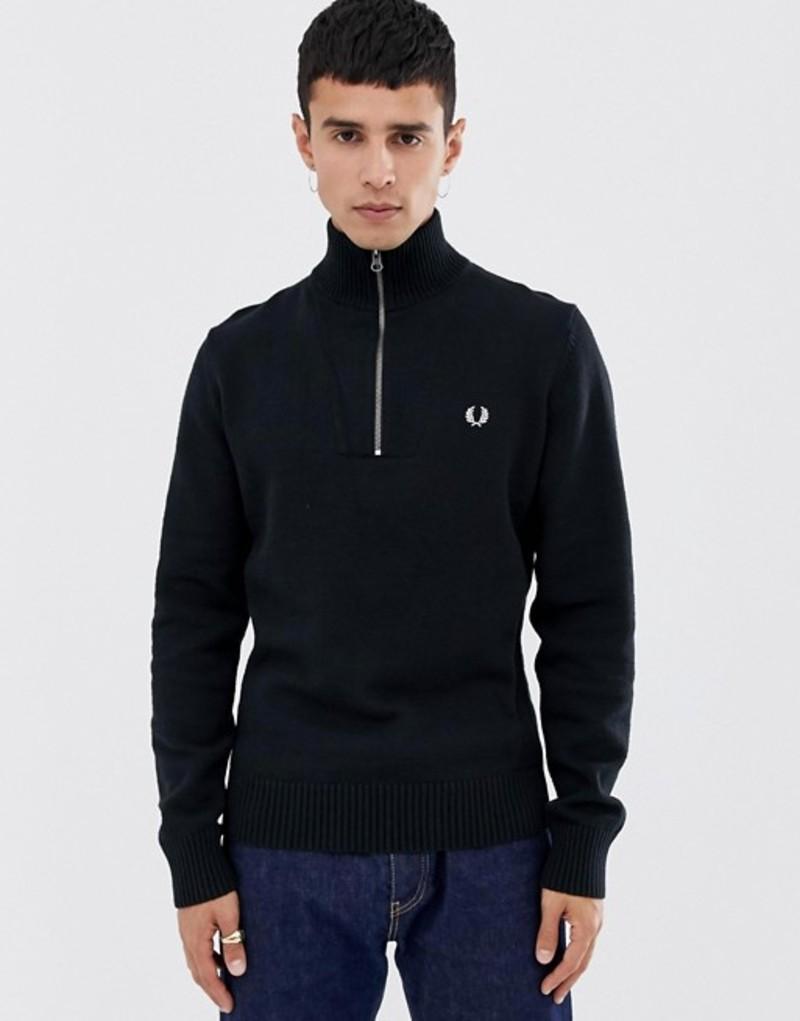 フレッドペリー メンズ ニット・セーター アウター Fred Perry back logo ribbed half zip knitted sweater in black Black