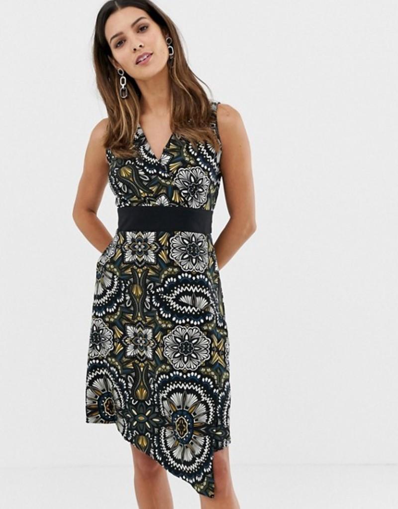 クローゼットロンドン レディース ワンピース トップス Closet Flower Print V Neck Asymmetric Dress Black