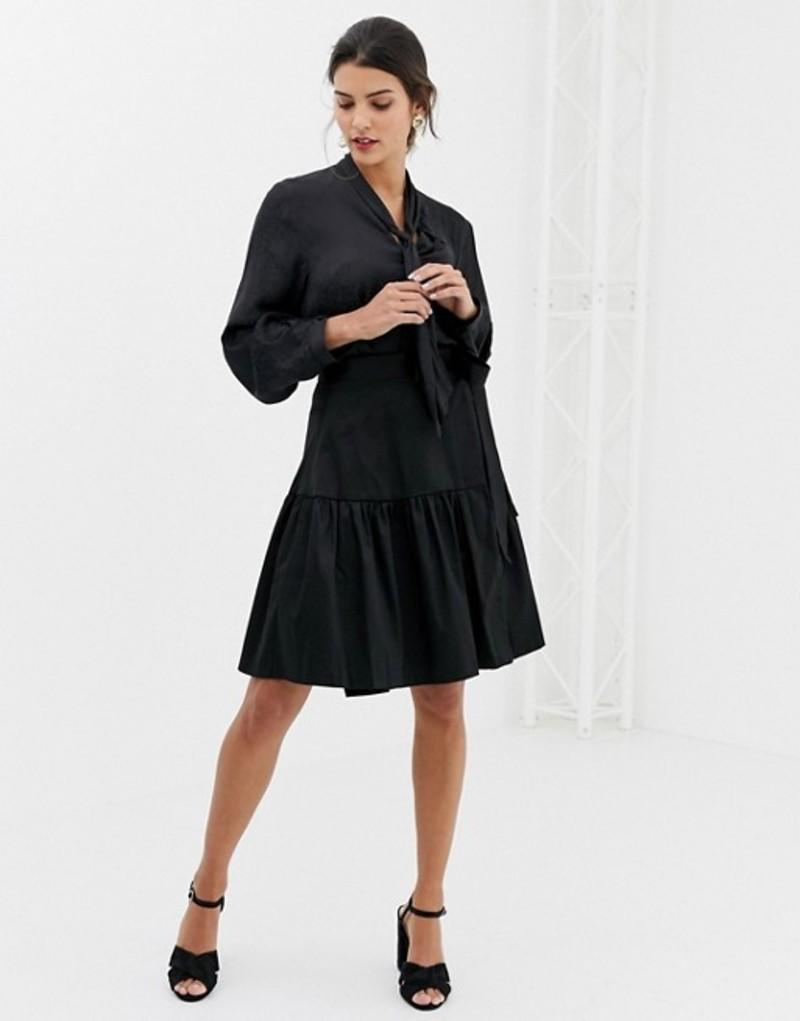 クローゼットロンドン レディース スカート ボトムス Closet Wrap Over Tie Waist Skirt Black