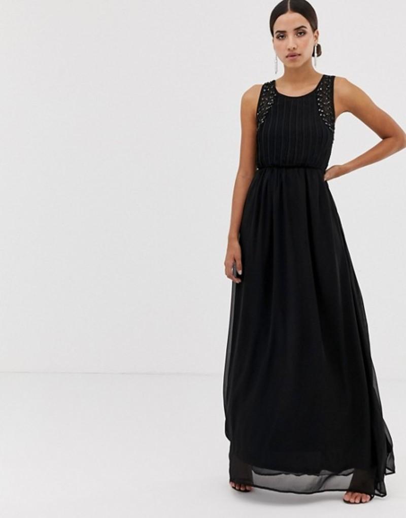アックスパリ レディース ワンピース トップス AX Paris tulle maxi dress with embellished detail Black