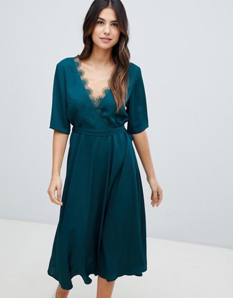 リクオリッシュ レディース ワンピース トップス Liquorish midi dress with lace trim Bottle green