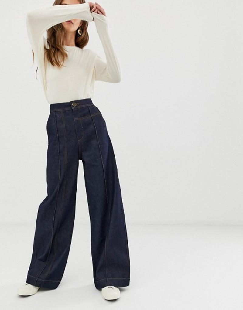 エイソス レディース デニムパンツ ボトムス ASOS WHITE wide leg jeans with stitch detail Indigo