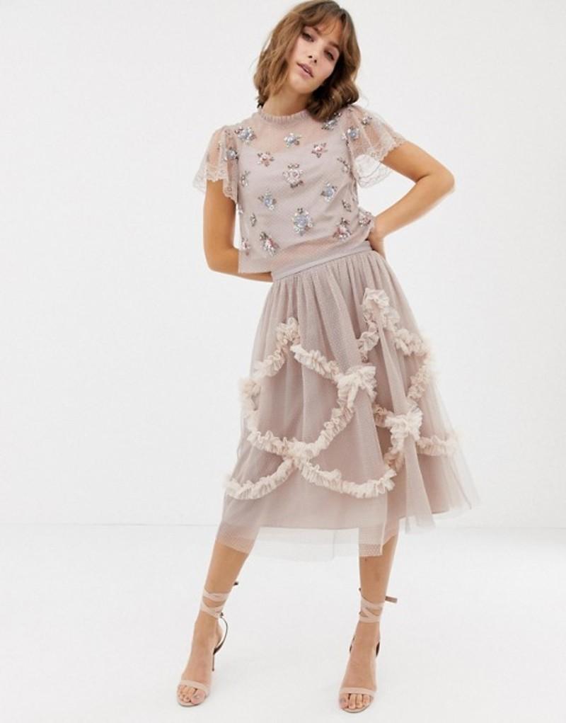 ニードルアンドスレッド レディース スカート ボトムス Needle & Thread tulle midi skirt with shirring detail in rose Dusk rose