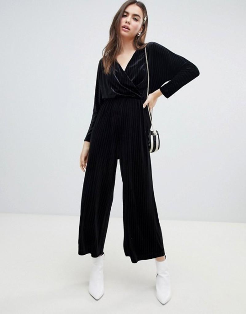 モンキ レディース ワンピース トップス Monki velvet wrap front jumpsuit in black stripe Black