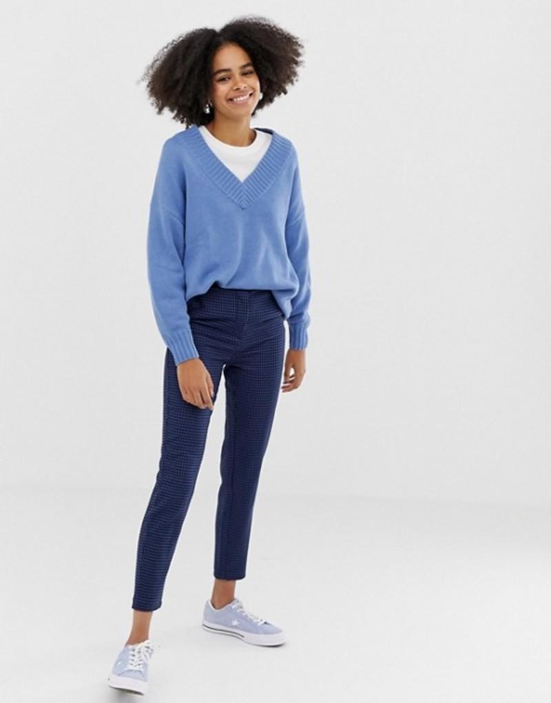 モンキ レディース カジュアルパンツ ボトムス Monki tailored peg leg pants with houndstooth print in blue two-piece Blue