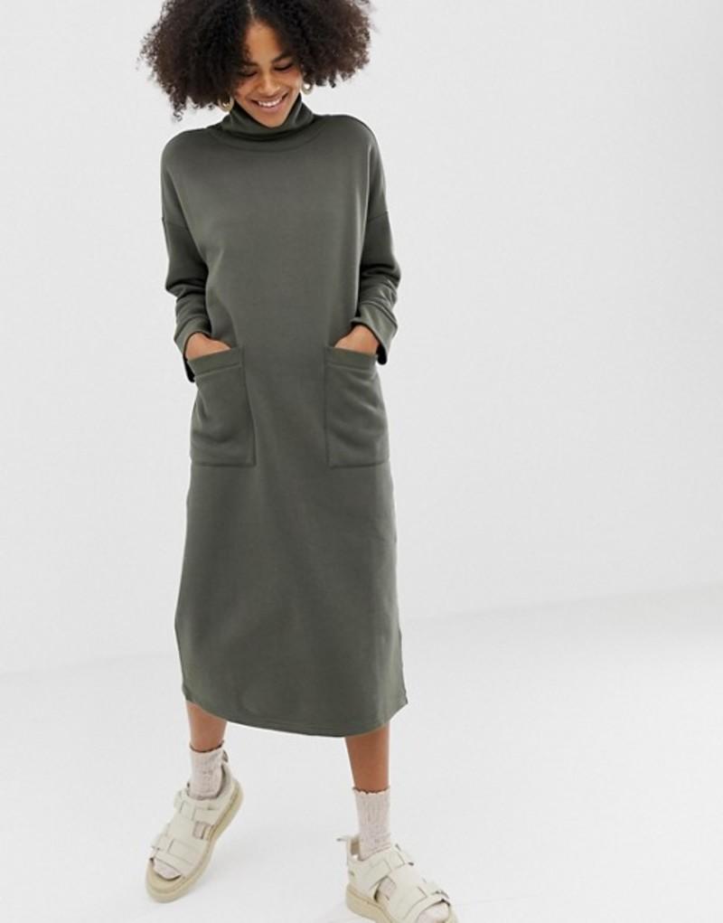 モンキ レディース ワンピース トップス Monki roll neck midi dress with oversized pockets in khaki Green