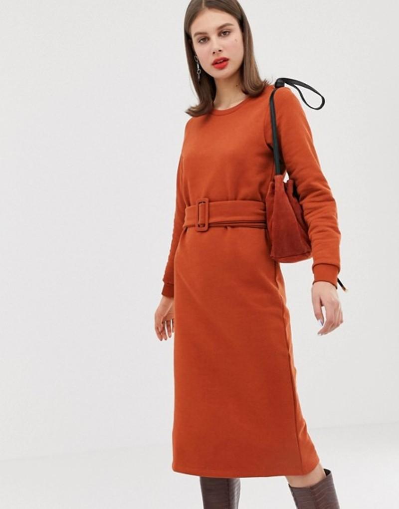 リバーアイランド レディース ワンピース トップス River Island belted sweatshirt dress in orange Orange dark