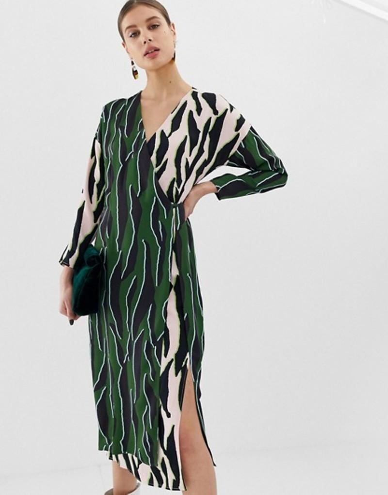 エイソス レディース ワンピース トップス ASOS WHITE animal print wrap dress Multi