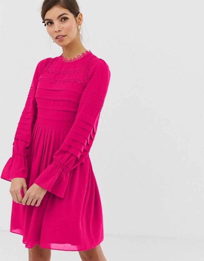 テッドベーカー レディース ワンピース トップス Ted Baker Arrebel lace trim dress Brt-pink