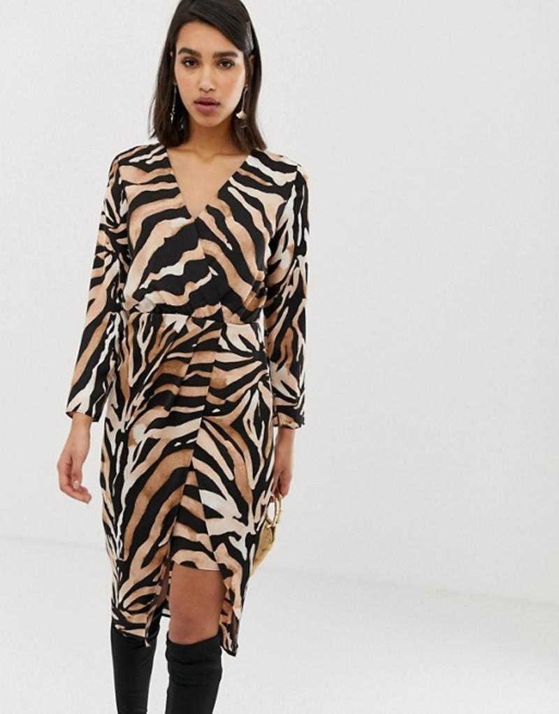 リバーアイランド レディース ワンピース トップス River Island wrap front midi dress in tiger print Tiger
