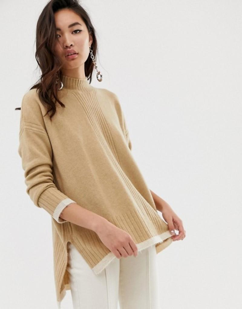 リバーアイランド レディース ニット・セーター アウター River Island sweater with contrast tipping in beige Beige