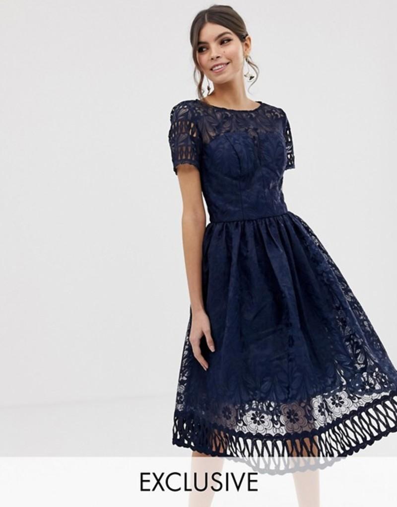 チチロンドン レディース ワンピース トップス Chi Chi London premium lace dress with cutwork detail and cap sleeve in navy Navy