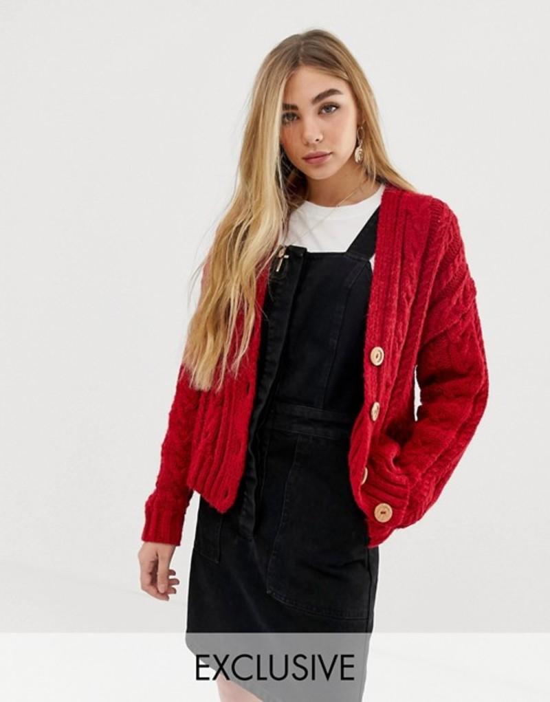 リクレイム ヴィンテージ レディース カーディガン アウター Reclaimed Vintage inspired cardigan in cable knit with button front Red