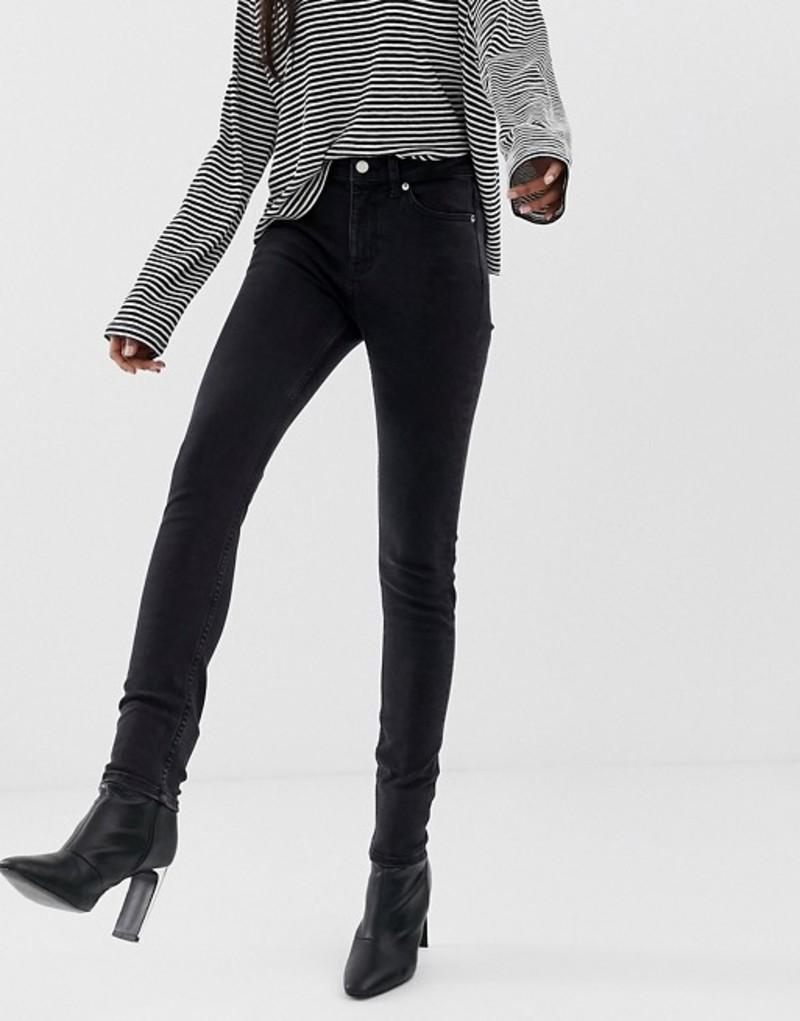 ウィークデイ レディース デニムパンツ ボトムス Weekday Thursday high waisted skinny jeans in black Tuned black