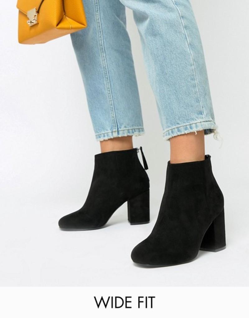 エイソス レディース ブーツ・レインブーツ シューズ ASOS DESIGN Wide Fit Beacon Zip Ankle Boots Black