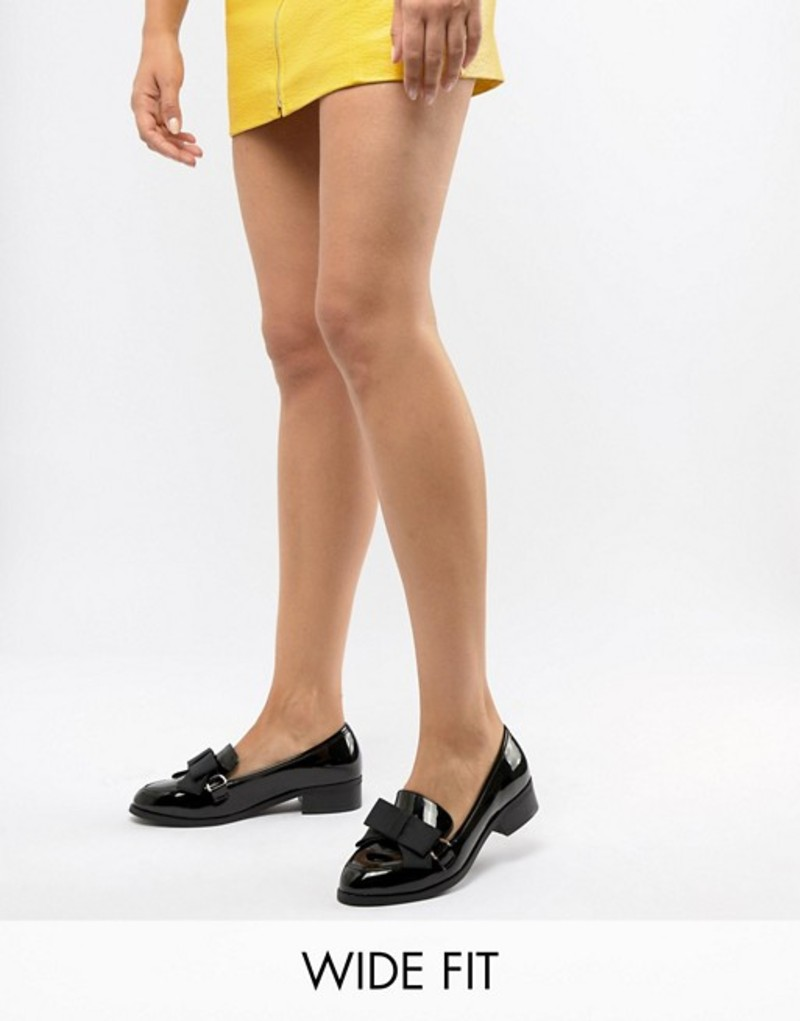エイソス レディース パンプス シューズ ASOS DESIGN Wide Fit Montie bow flat shoes Black