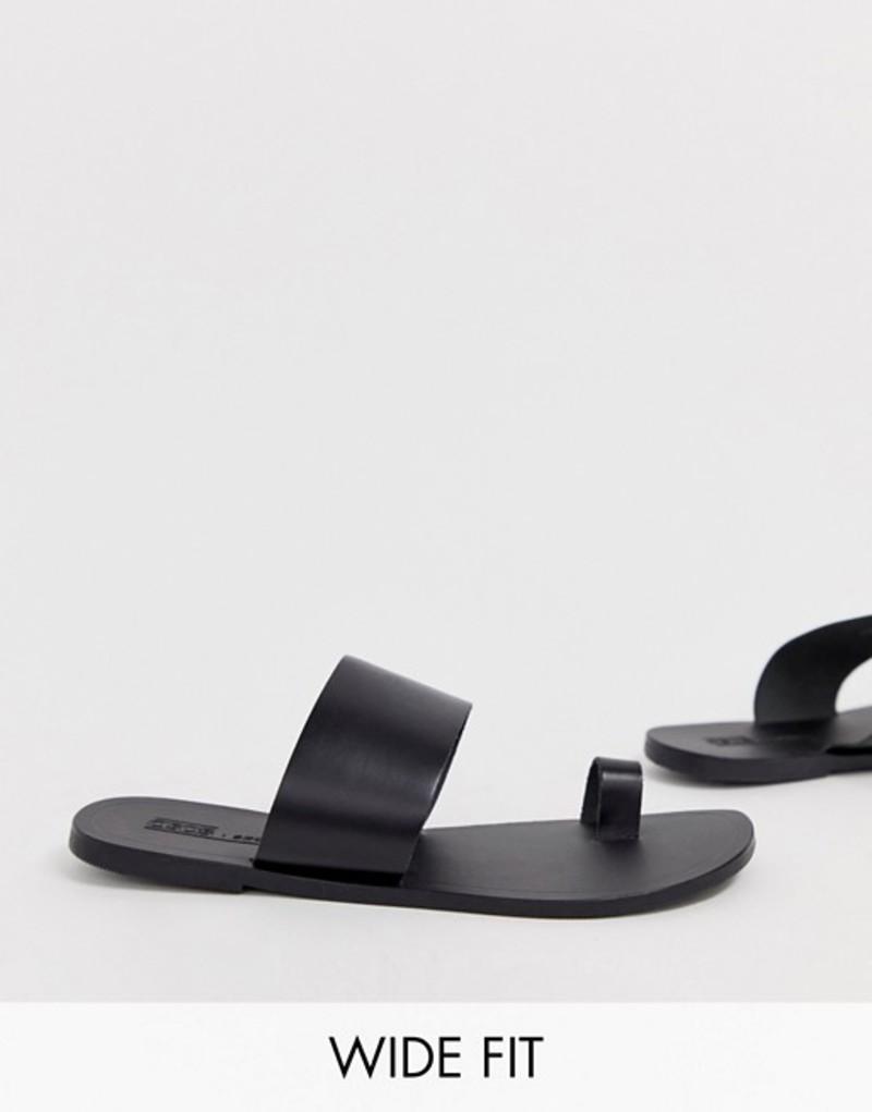 エイソス レディース サンダル シューズ ASOS DESIGN Wide Fit Faro leather toe loop flat sandals Black
