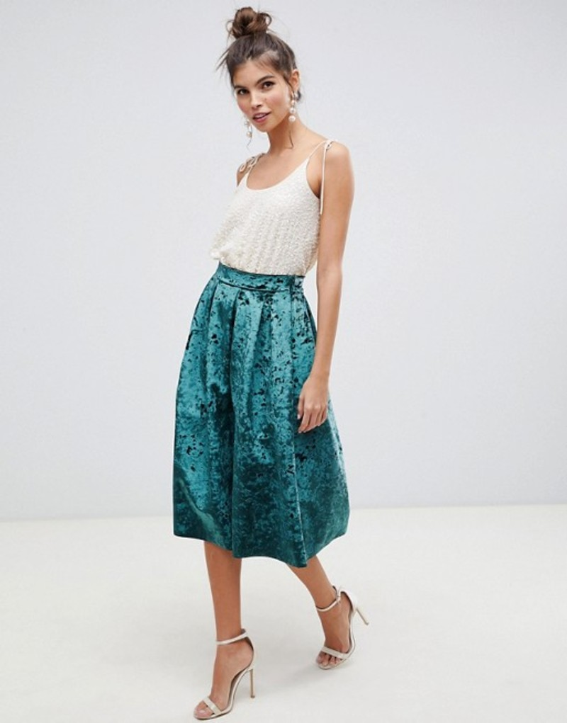 エイソス レディース スカート ボトムス ASOS DESIGN midi prom skirt with box pleats in velvet Green