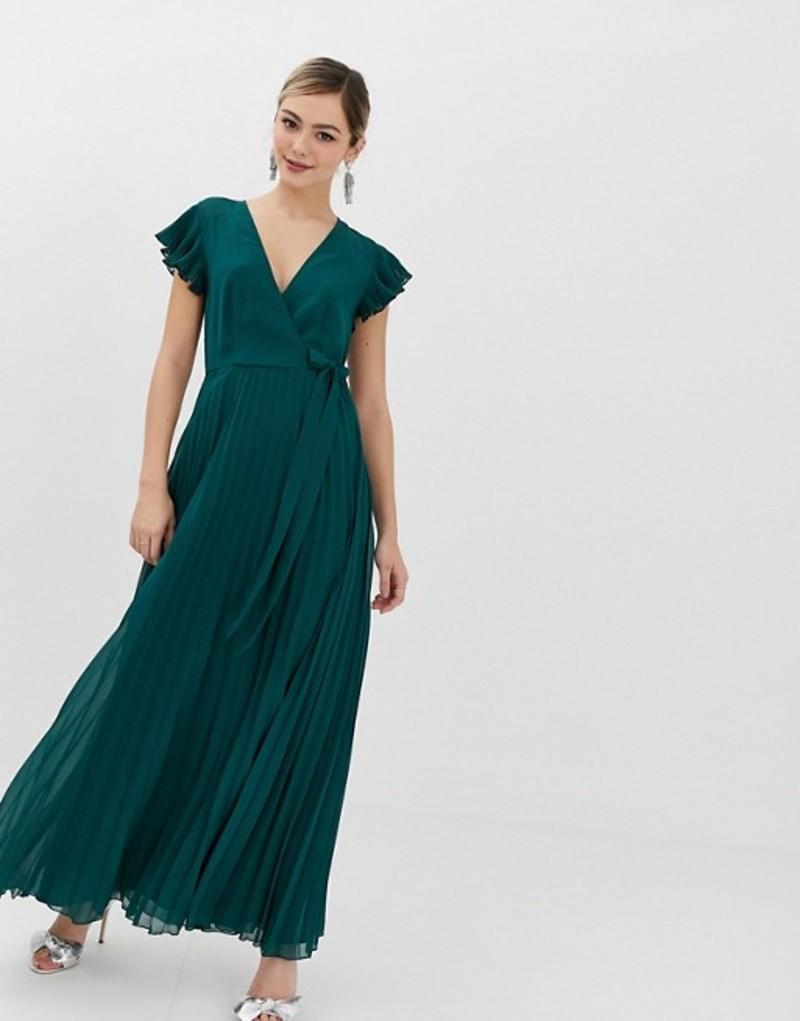 エイソス レディース ワンピース トップス ASOS DESIGN pleated maxi dress with flutter sleeve Green