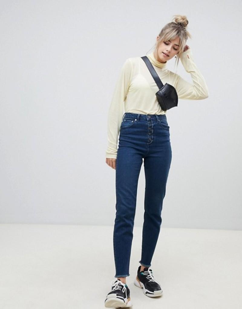 エイソス レディース デニムパンツ ボトムス ASOS DESIGN Farleigh high waist slim mom jeans in dark london blue wash with exposed button fly Dark london blue was