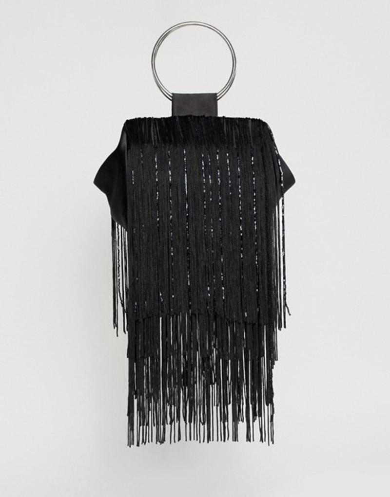 エイソス レディース クラッチバッグ バッグ ASOS DESIGN beaded fringe grab handle clutch bag Black